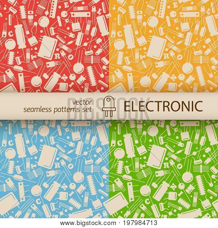 Industrial seamless pattern with electronic elements vector Illustration