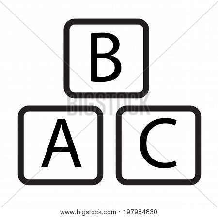 abc block icon on white background. abc block sign.
