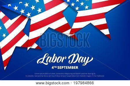 Labor Day. USA Labor Day background. Banner with stars of USA flag and typography.