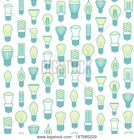 Different Lamp or Light Bulbs Line Background Pattern on a White for Web. Vector illustration