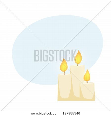 Candle set. Candlelight cartoon illustration. Interior decor elements. Christmas decoration for shelves, table or cabinet.