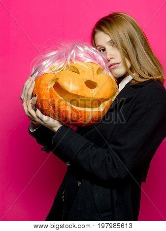 Halloween Woman With Pretty Face.
