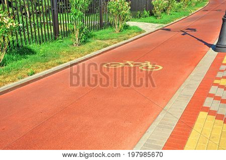 Special cycle track for transport , edge of the promenade
