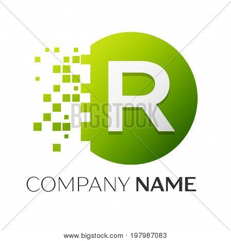 Realistic letter R vector logo symbol in the colorful circle with shattered blocks on white background. Pixel Motion. Vector template for your design