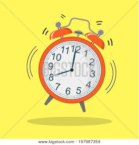 Cartoon alarm clock ringing. Wake up morning concept. flat style vector illustration icon