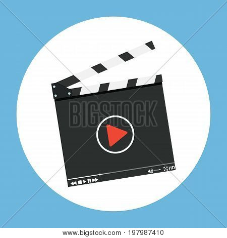 Clapper board icon. Film production concept . Vector illustration in flat design