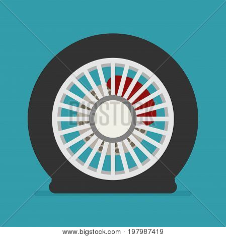 Flat tire icon vector for design isolated on color background