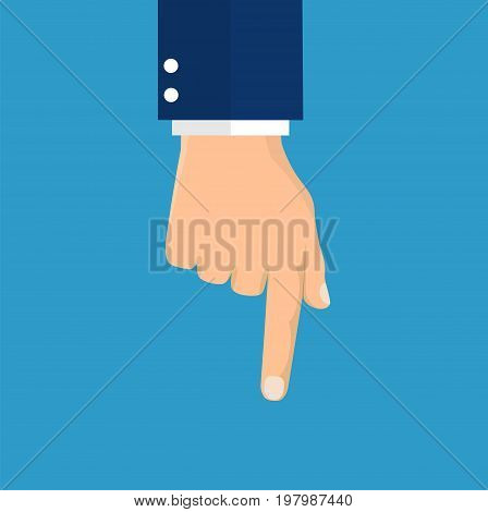 hand pointing with index finger. Vector illustration in flat style