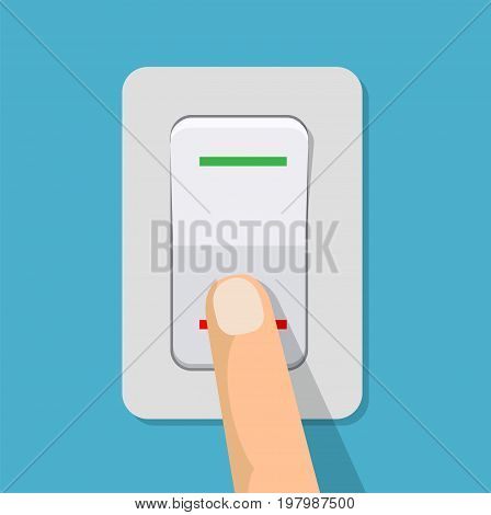 Finger presses the button switch. Electric control switch by pressing a hand. Vector illustration in flat design
