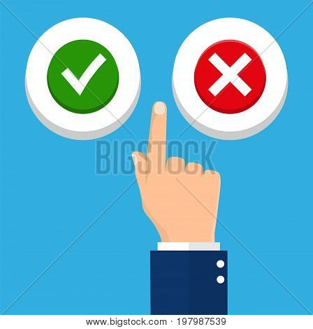 Hand, finger pressing buttons no or yes. The concept of choice, the right choice and a wrong decision. Vector illustration in flat style
