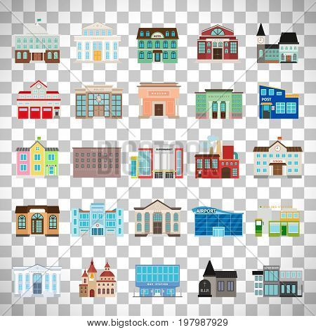 Municipal library and city bank, hospital and school vector icon set. Colored urban government building icons isolated on transparent background