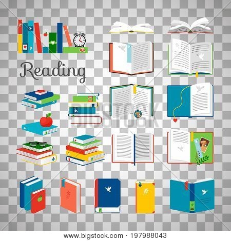 Reading book vector cartoon icons set. School and hand books, library books stack vector illustration isolated on transparent background