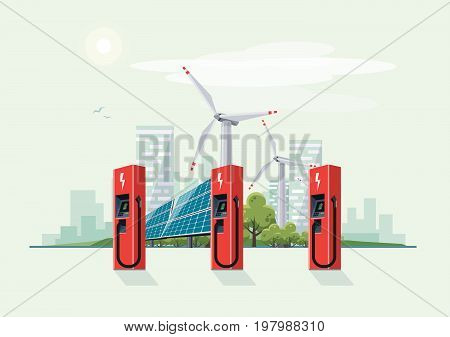 Charging Station For Electric Car With Solar Panels And Wind Turbines
