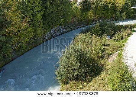 Beautiful view of the Boite river in Cortina d'Ampezzo, Dolomiti mountains,  Alps, Veneto, Italy, Europe