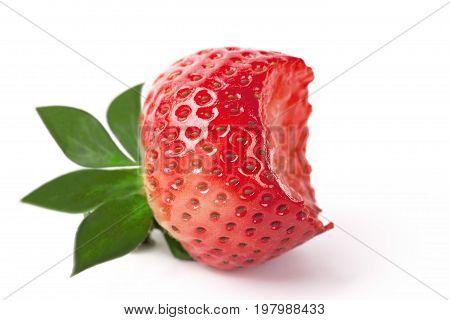 Bitten berry fresh strawberries on white background