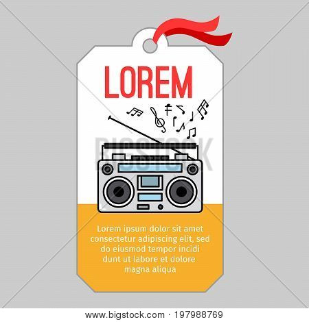 Music tag or musical label or banner with music player vector illustration