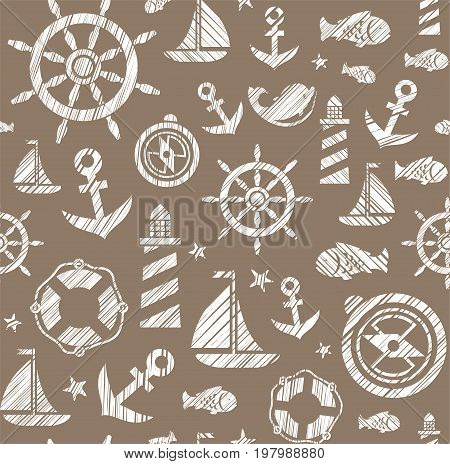 Nautical background, seamless, brown, vector. The attributes of a sea voyage on a brown background. White pictures drawn with diagonal hatching. Vector pattern.