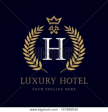Luxury Hotel crown and key letter