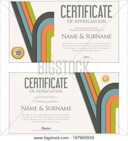 Modern Colorful Certificate Or Diploma Template Vector 4.eps