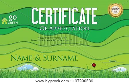 Modern Colorful Ecology Certificate Or Diploma Template Vector.eps