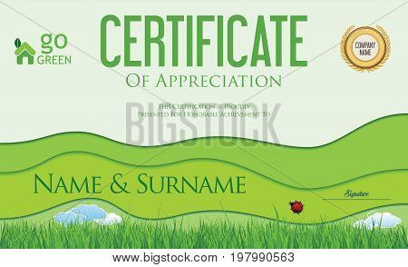 Modern Colorful Ecology Certificate Or Diploma Template Vector 2.eps