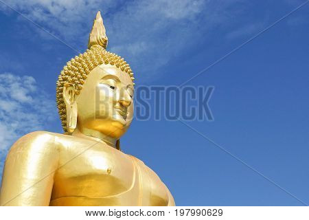 close up outdoor big buddha image in temple for people respect