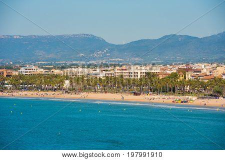 Beach Landscape Of The Costa Dorada, Tarragona, Catalanya, Spain. Copy Space For Text.