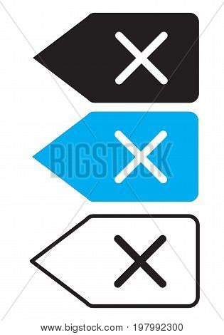 delete backspace key icon on white background. delete backspace key sign for apps and websites. flat style design.