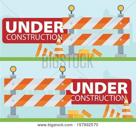 Website improvement under construction flat icon with traffic barrier and cone vector illustration