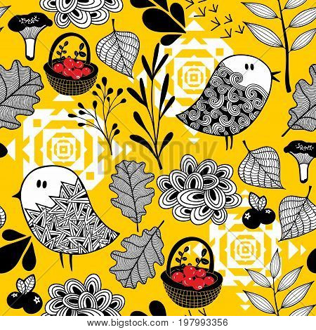 Autumn background with mushrooms, berries and cute doodle birds. Vector floral illustration.