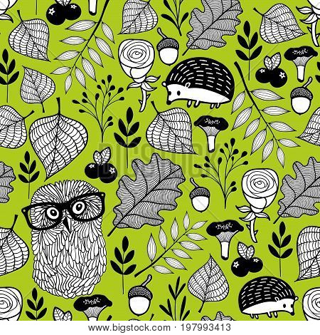 Summer time seamless pattern with wild birds and animals. Vector endless illustration of forest.