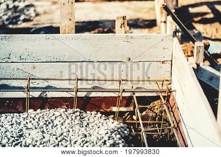 Foundation Site Of House Or Building, Details And Reinforcements With Steel Bars And Wire Rod, Prepa