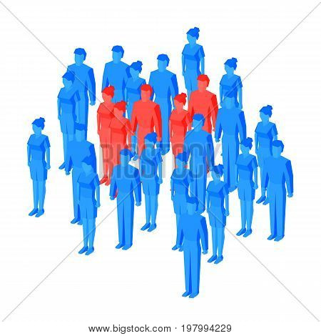 Target group (focus group) - business concept. Some red isometric people standing among blue crowd. Vector illustration for infographics.