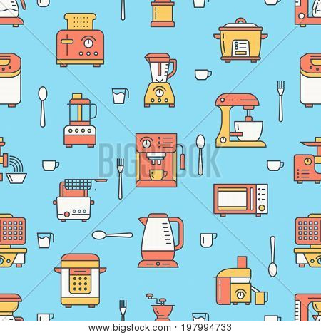 Kitchen utensil, small appliances colored seamless pattern flat line icons. Background with household cooking tools - blender, mixer, food processor, coffee machine, microwave, toaster. Electronics.