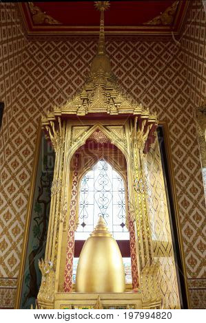 Buddha's Relics displayed on top of Loha Prasat.Bangkok famous place temple Iron Palace Loha Prasat in the area of Wat Ratchanatdaram (Royal Niece). This temple is one of the most attractive landmark in Bangkok 1 oct 2016 Bangkok Thailand.