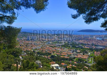 Toulon view on the city from Faron mountain France