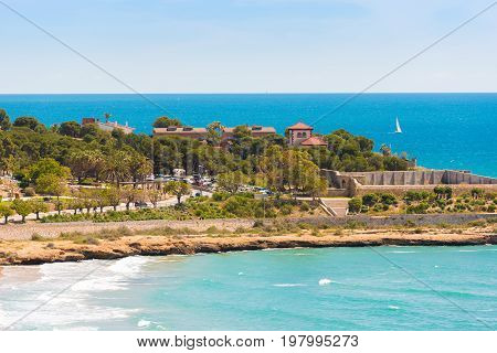 Seascape. The Coastline Of The Costa Dorada, Tarragona, Catalunya, Spain. Copy Space For Text.