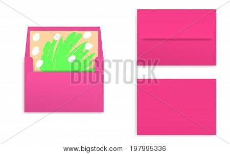 Mock-up of bright pink decorated envelope with rectangle flip. Front view closed and opened back side. Art paper inside. 3D realistic vector illustration.