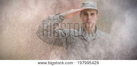 black against portrait of military saluting