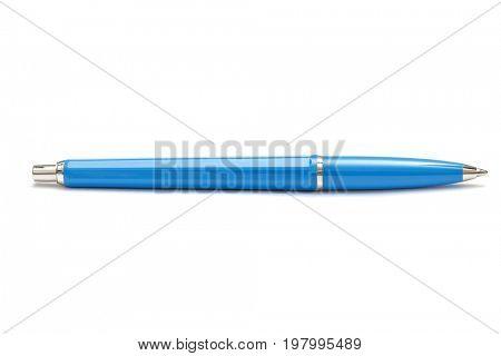 Blue ballpoint pen isolated on white background