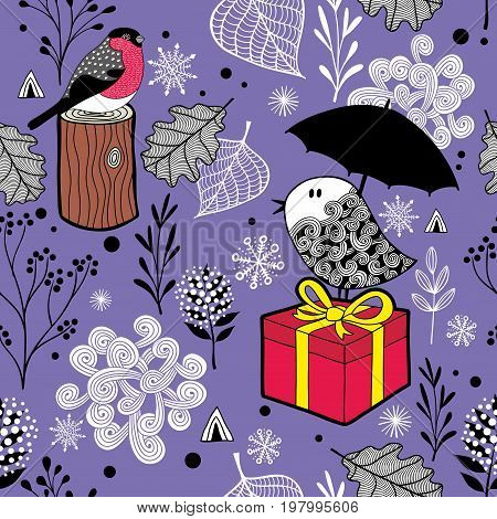 Cute seamless pattern with winter birds and snow. Vector endless background in purple.