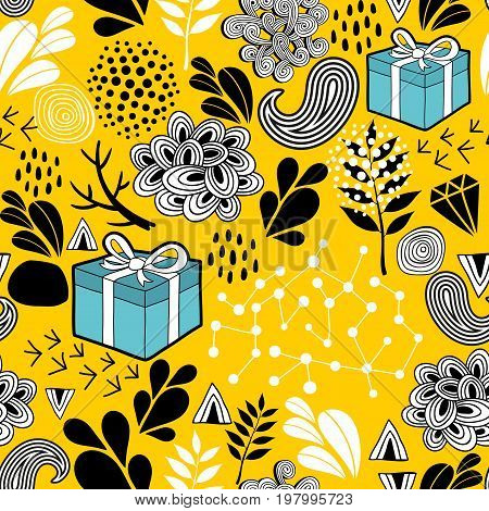 Yellow background seamless pattern with holiday presents.