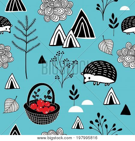 Seamless background with abstract mountains and cute animals. Vector endless pattern.