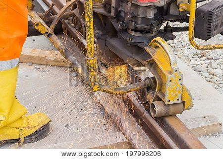 Rail Worker Grinding Tramway Track 2