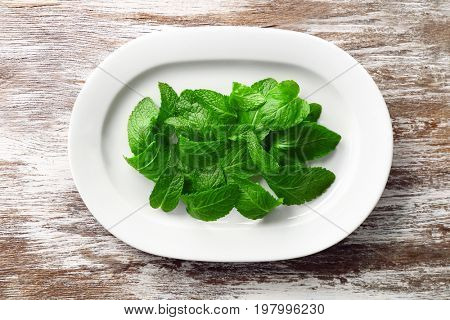 Plate with leaves of lemon balm on table