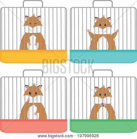 Cute hamster in cage, different emotion, flat style.