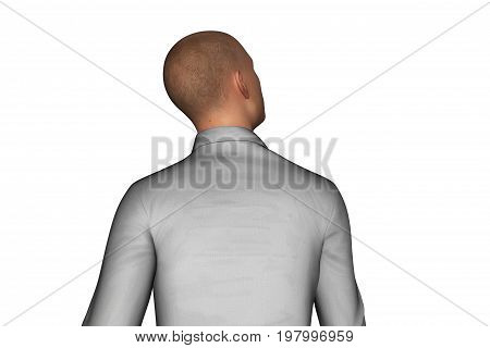 3d rendering of back side of businessman looking sideways isolated on white background