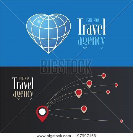Travel company vector logo icon collection. Pointers and flight directions globe for design element for travel agency. Vacations and journeys concept images