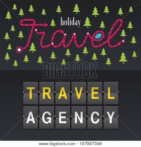Travel company vector logo icon set. Design with airport board trees and sign Travel Agency. Tourism concept template element