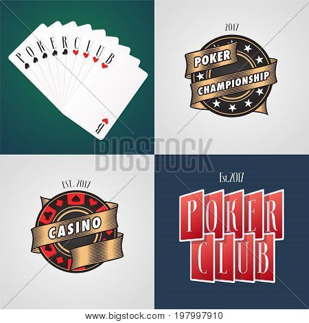 Set of poker casino vector logo emblem. Design element with casino chips cards and sign Poker club
